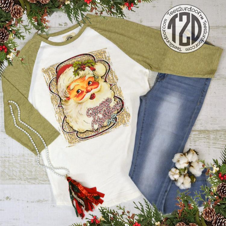 A Vintage Santa Claus Relaxed Basic Raglan Shirt Product Image