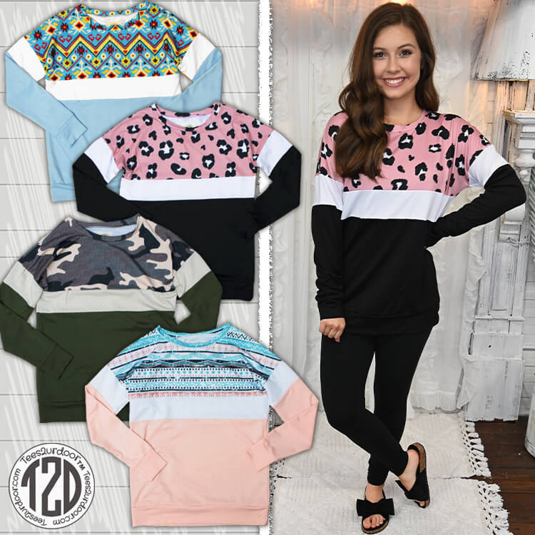 Color Block Long Sleeve T-Shirt Product Image