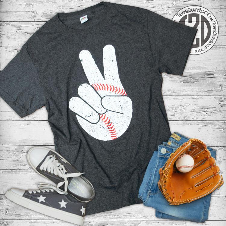 Baseball Peace Sign T-Shirt Flat
