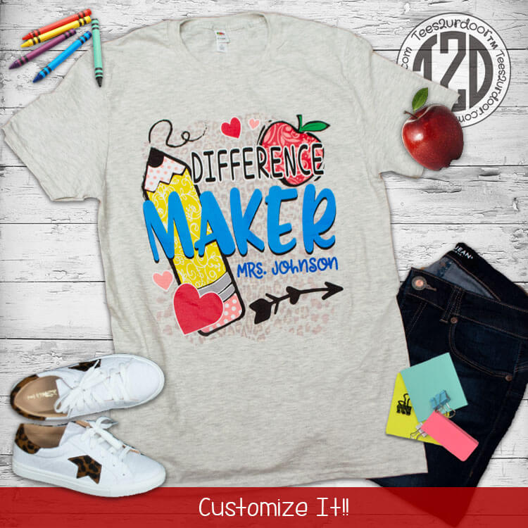 Difference Maker Personalized Teacher T-Shirt Flat