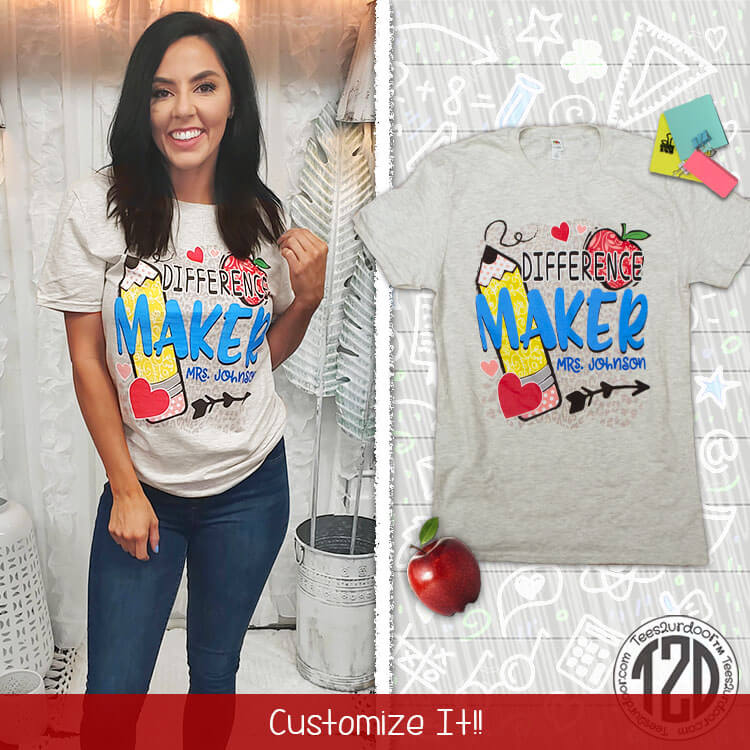Difference Maker Personalized Teacher T-Shirt Product Image