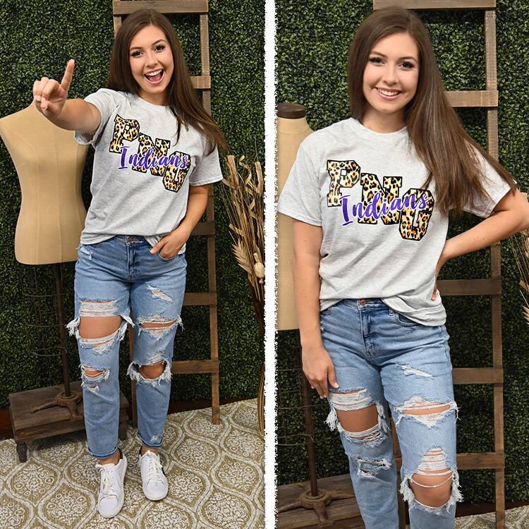 Leopard School Spirit Mascot T-Shirt Lifestyle