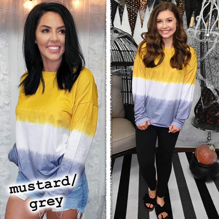 School Spirit Ombre' Long Sleeve Mustard/Grey
