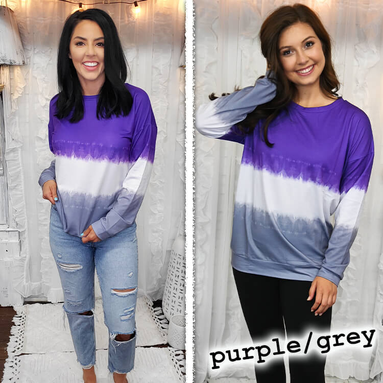 School Spirit Ombre' Long Sleeve Purple/Grey