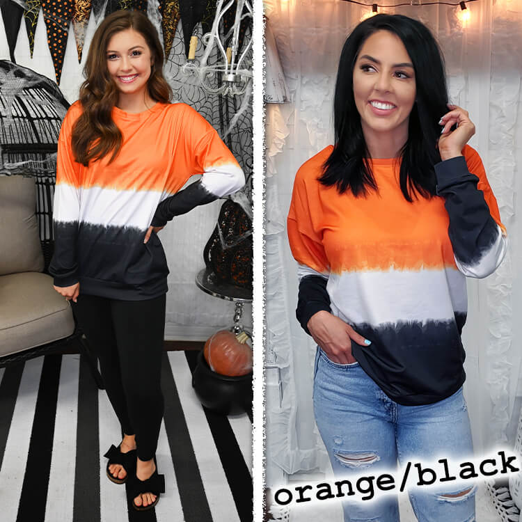 School Spirit Ombre' Long Sleeve Orange/Black