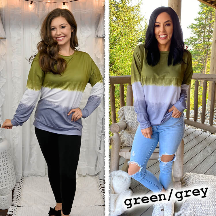 School Spirit Ombre' Long Sleeve Green/Grey