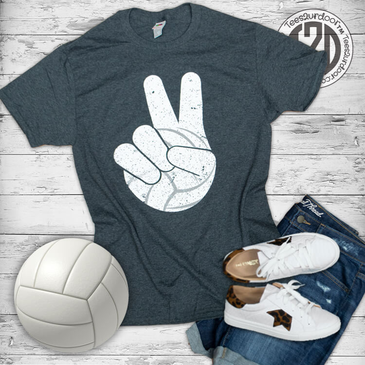 Volleyball Peace Sign T-Shirt Flat
