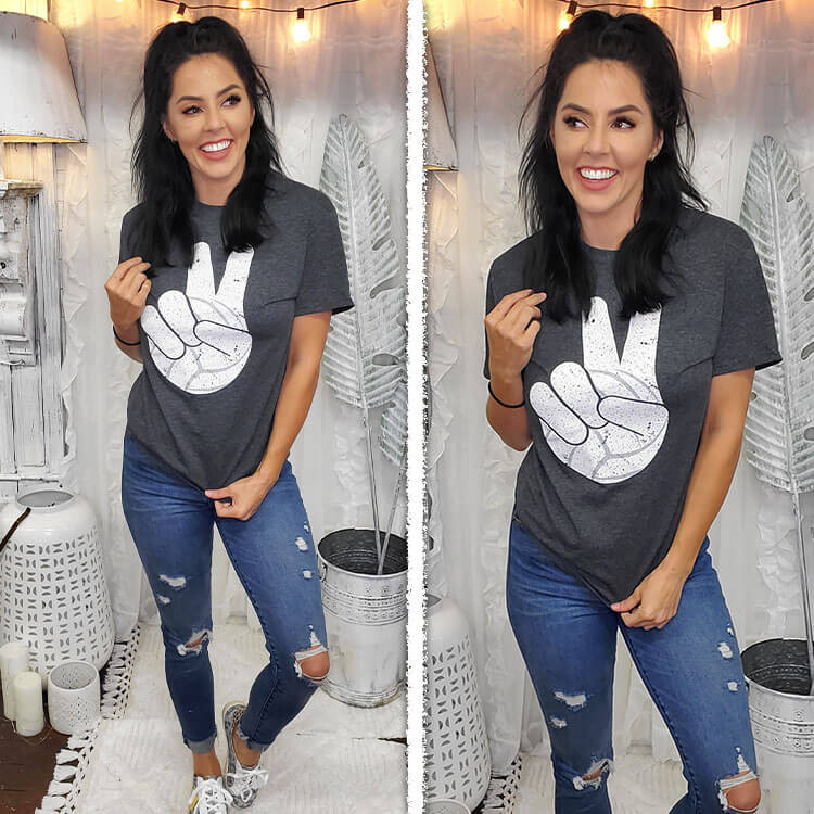 Volleyball Peace Sign T-Shirt Lifestyle