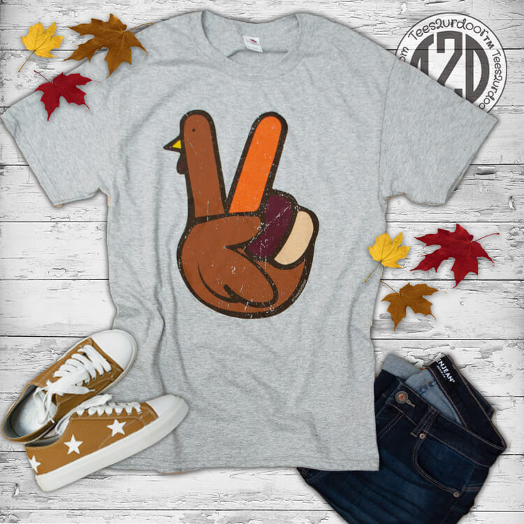 Peace Sign Turkey Thanksgiving T-Shirt