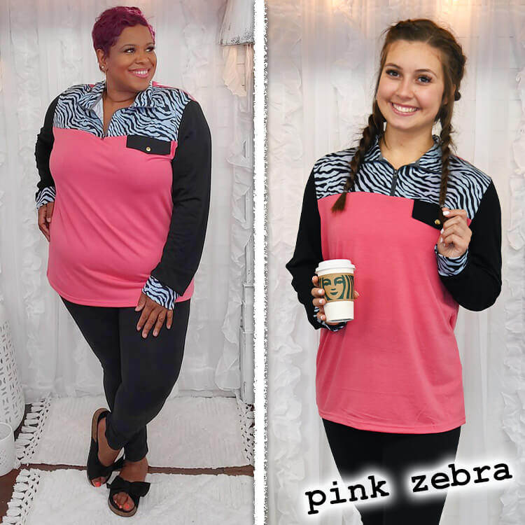 Lightweight Quarter Zip Pullover in Pink Zebra