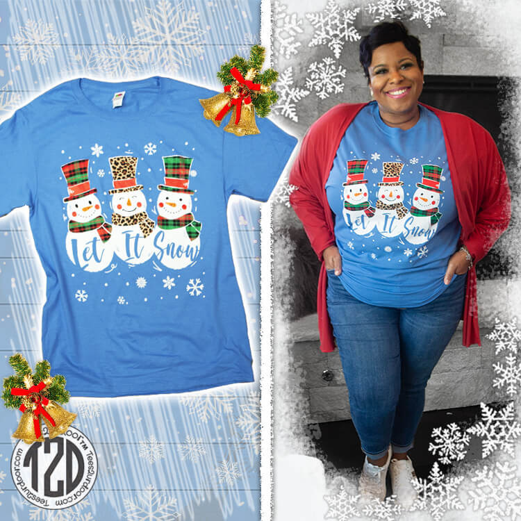 Let it Snow Snowman Christmas T-Shirt Product Image