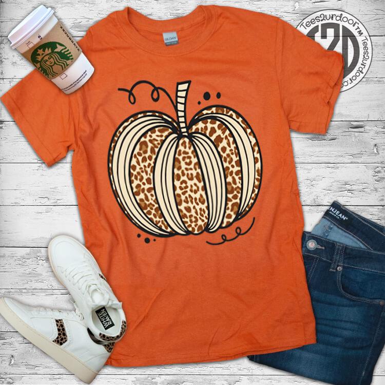 Sassy Autumn Leopard Pumpkin T-Shirt Flat