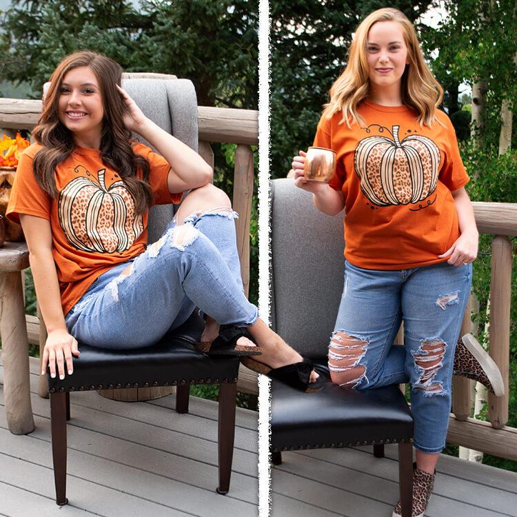 Sassy Autumn Leopard Pumpkin T-Shirt Lifestyle