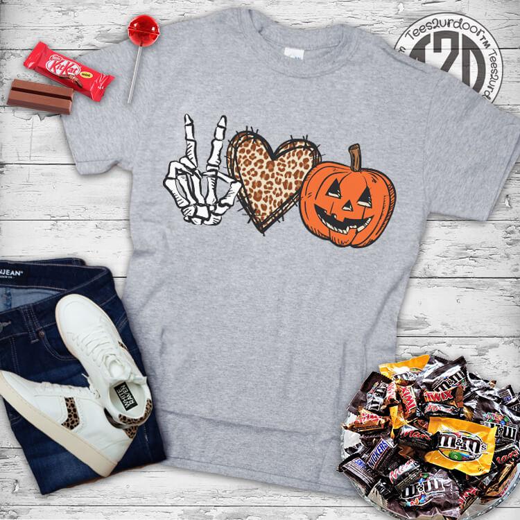 Peace Love Halloween T-Shirt Flat