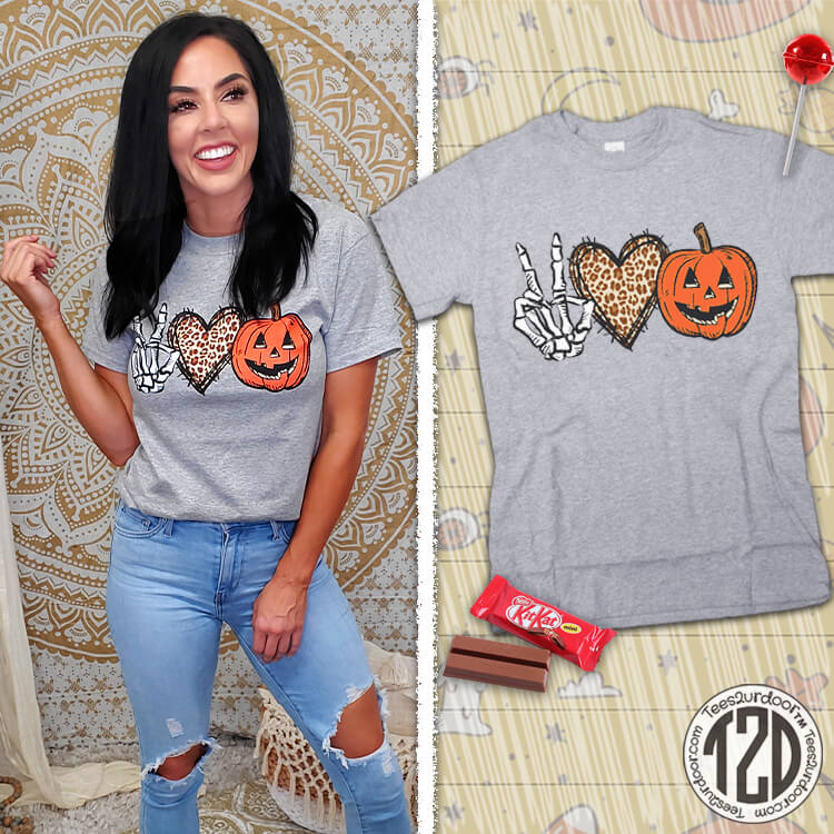 Peace Love Halloween T-Shirt Product Image
