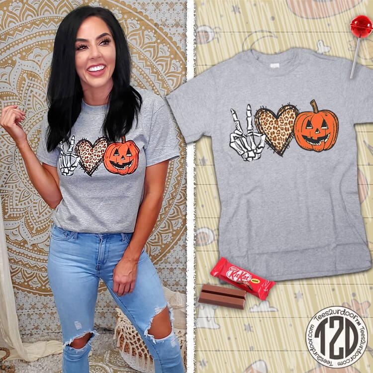 Peace Love Halloween T-Shirt Product Image
