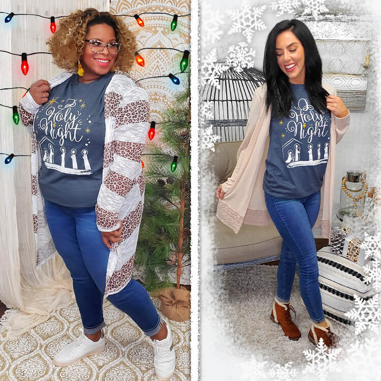 O Holy Night Christmas T-Shirt Lifestyle