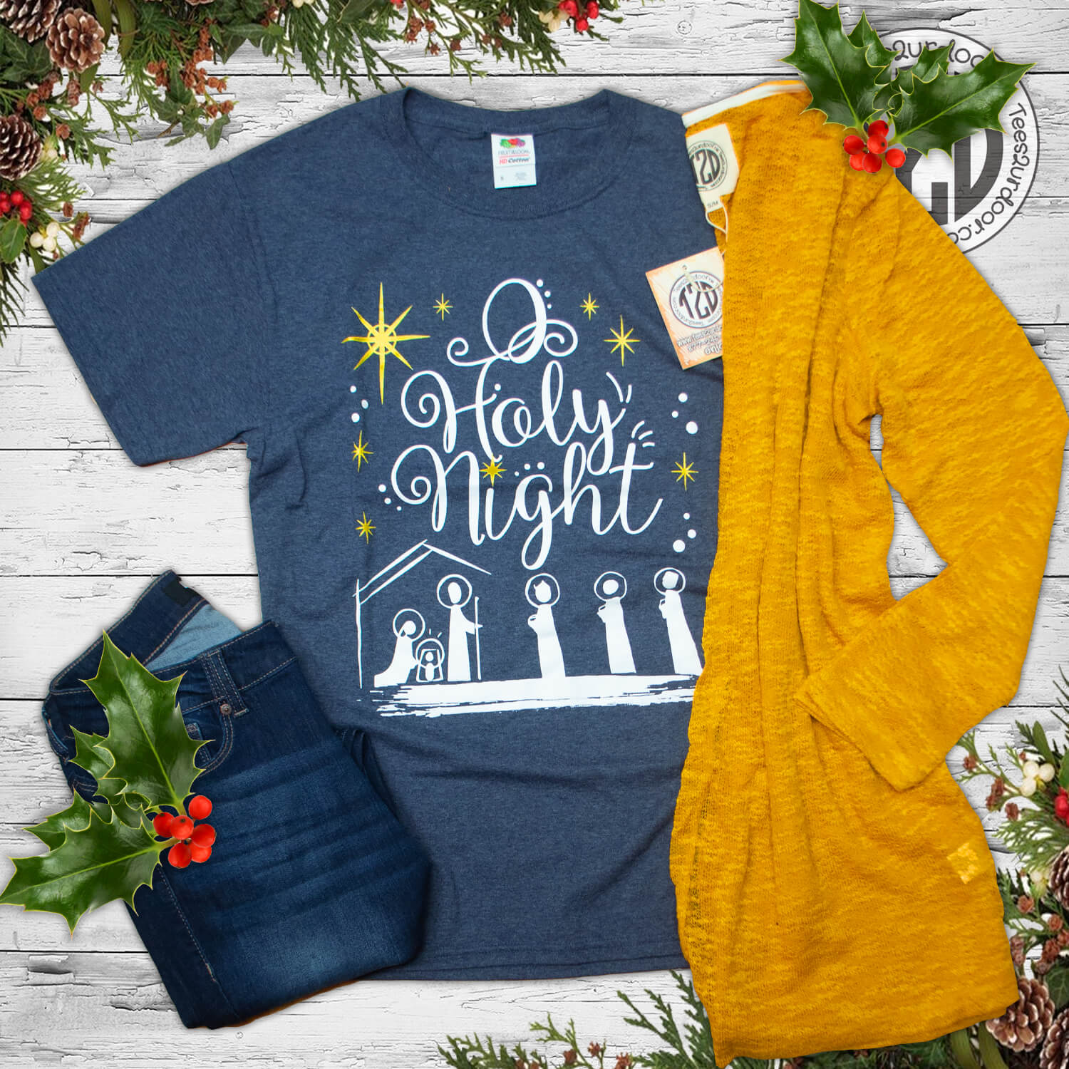 O Holy Night Christmas T-Shirt Flat