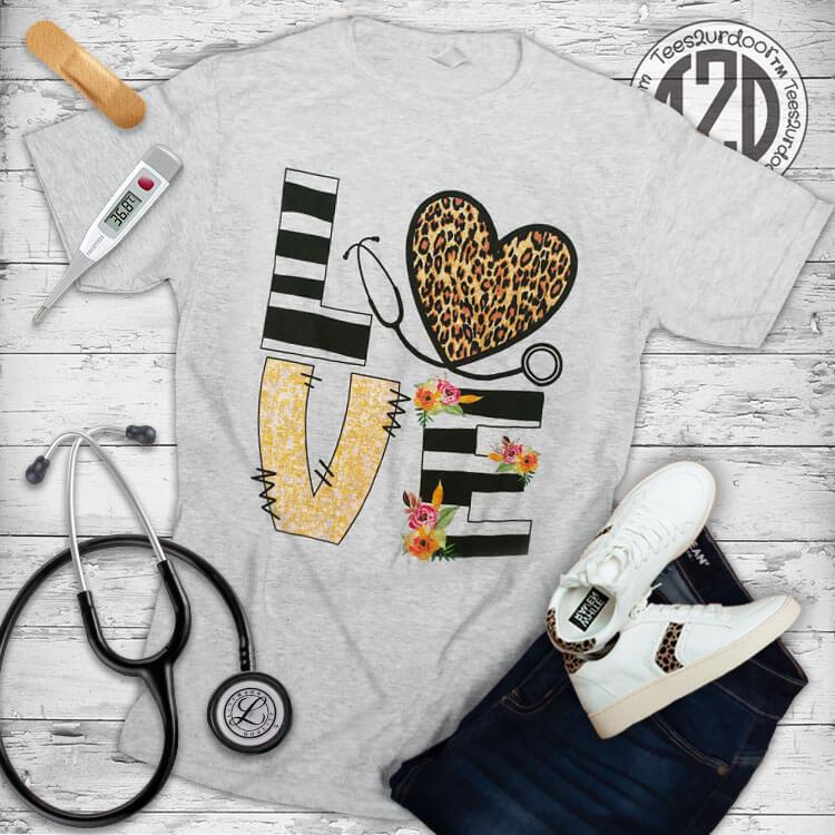 Love Leopard Heart Nurse T-Shirt Flat