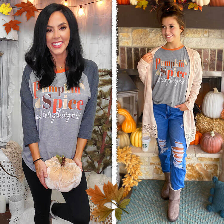 Pumpkin Spice Fall Raglan Lifestyle