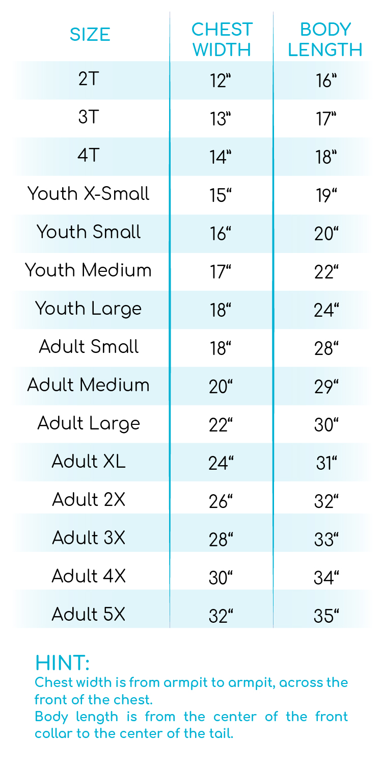 2020 is on the Naughty List Size Chart