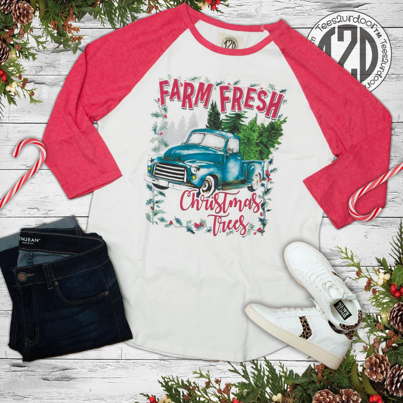 Farm Fresh Christmas Tree Pink Raglan