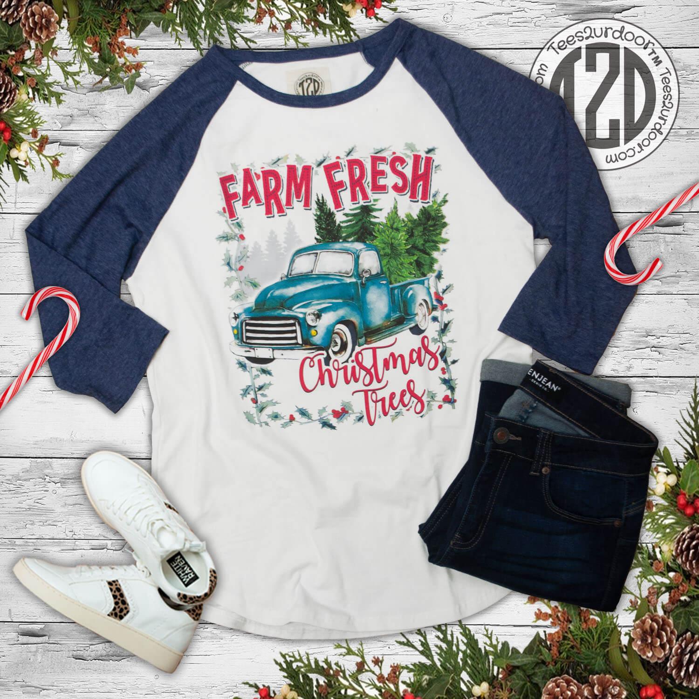 Farm Fresh Christmas Tree Navy Raglan