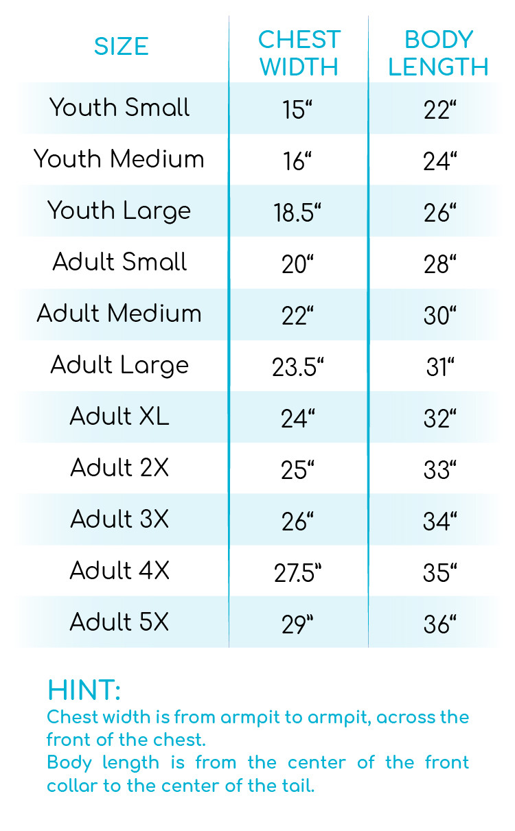 Perfectly Cozy Gown Size Chart