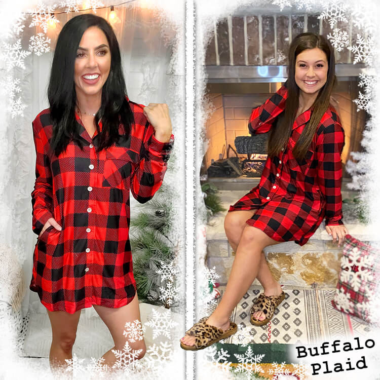 Perfectly Cozy Gown Buffalo Plaid