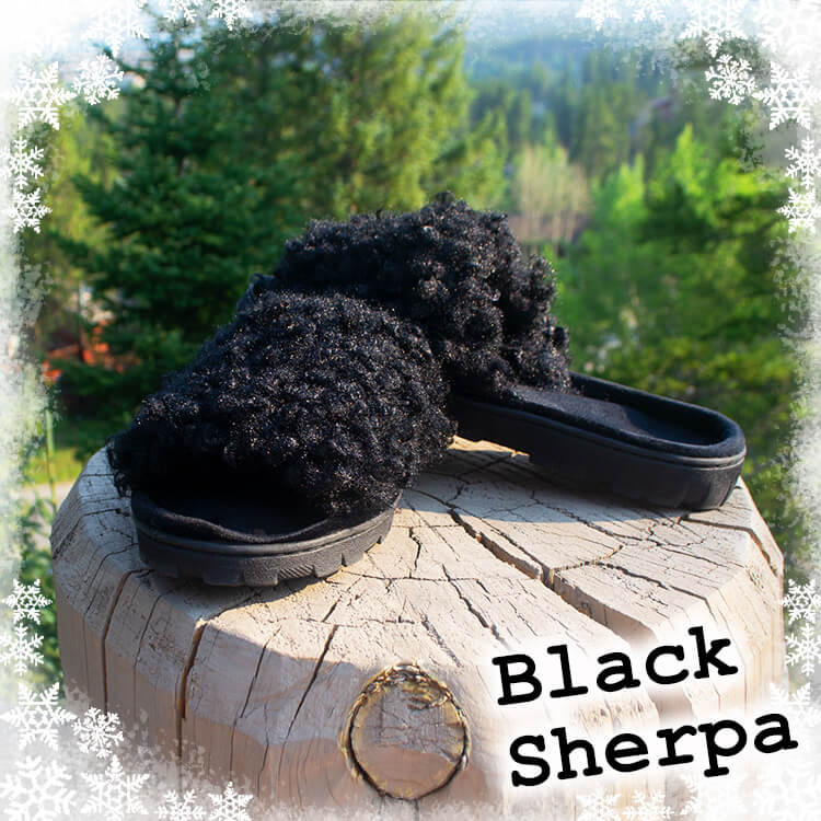Black Sherpa Slippers