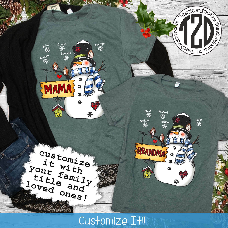 Custom Christmas Family T-Shirt Flat