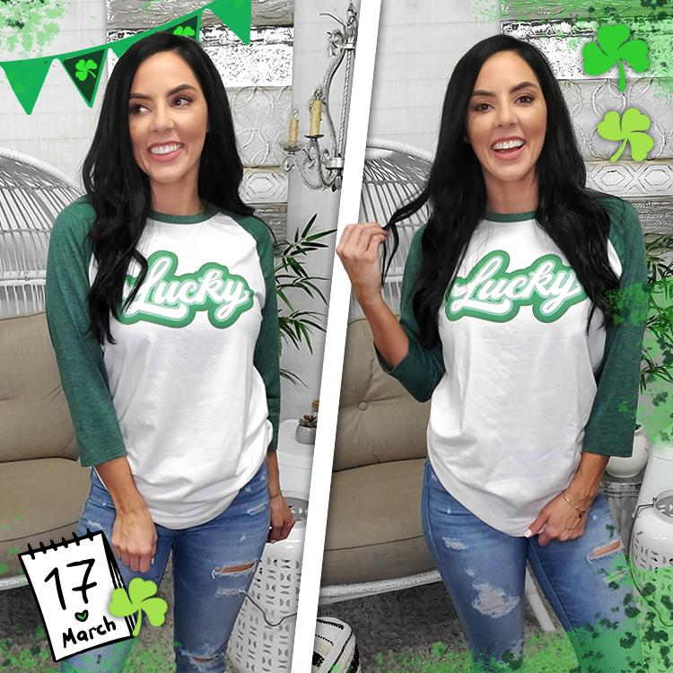 Retro Lucky St. Patrick's Day Raglan Lifestyle Image