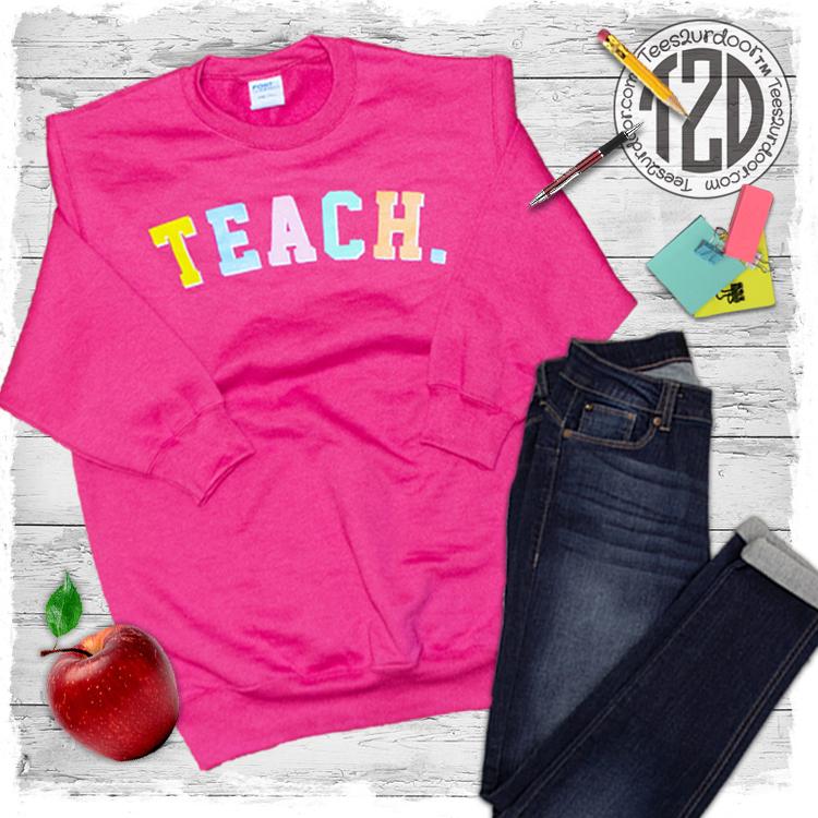 Teach Color Block Letter Sweatshirt Flat
