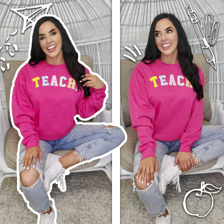 Teach Color Block Letter Sweatshirt Life Style