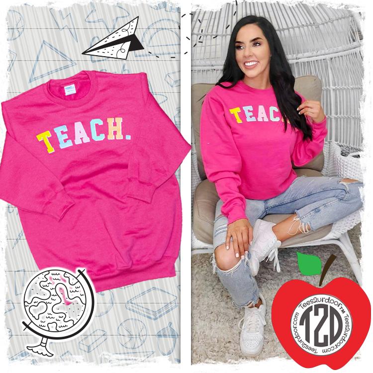 Teach Color Block Letter Sweatshirt Product Image