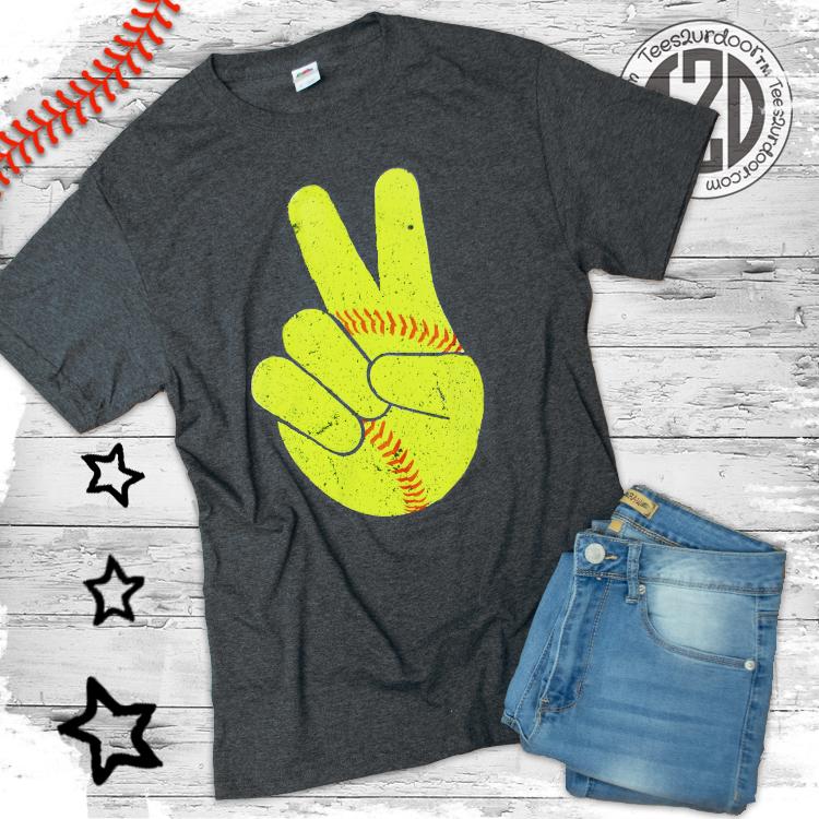 Softball Peace Sign T-Shirt Image