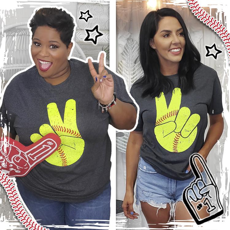 Softball Peace Sign T-Shirt Product Image