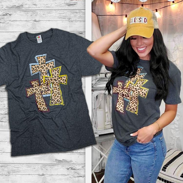 Sassy Leopard Crosses T-Shirt