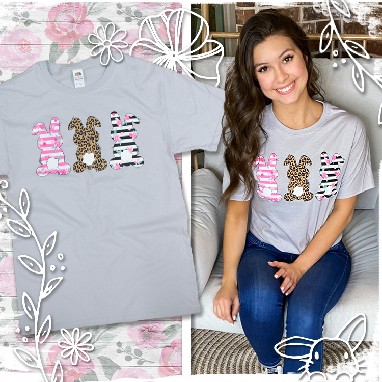 Three Trendy Bunnies Easter T-Shirt product image
