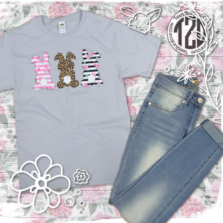 Three Trendy Bunnies Easter T-Shirt Flat Lay