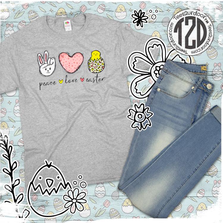 Peace Love Easter T-Shirt flat lay