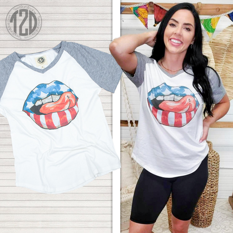 Stars and Stripes Lips V-Neck  Product Image