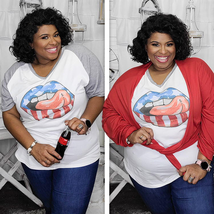Stars and Stripes Lips V-Neck  Lifestyle