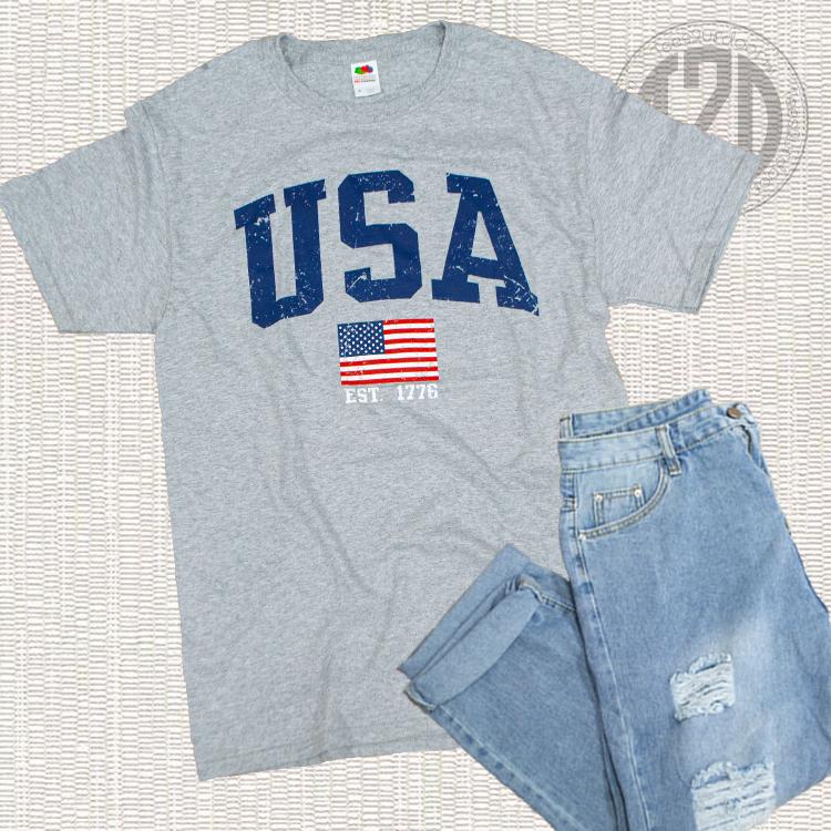 Sporty USA Patriotic T-Shirt Flat