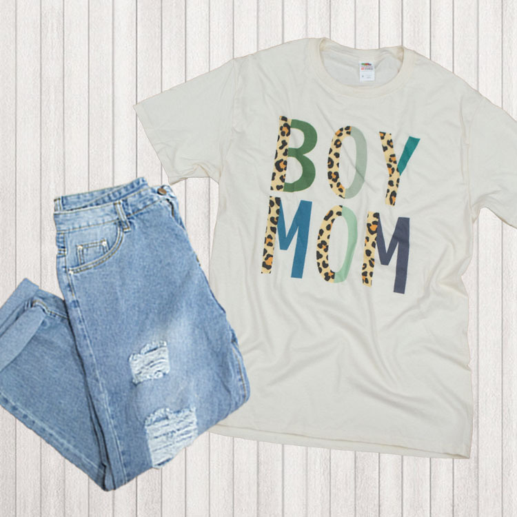 Boy Mom Leopard Letter T-Shirt Flat