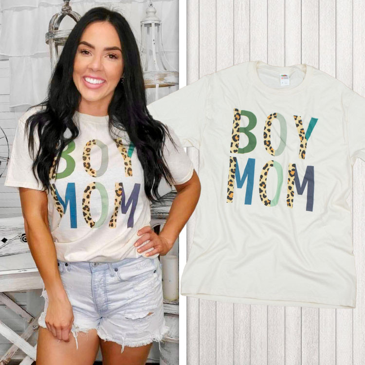Boy Mom Leopard Letter T-Shirt Product Image