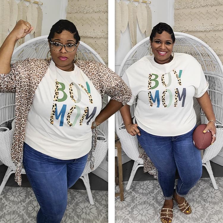 Boy Mom Leopard Letter T-Shirt Lifestyle