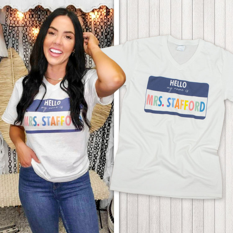Hello My Name is V-Neck T-Shirt Product Image