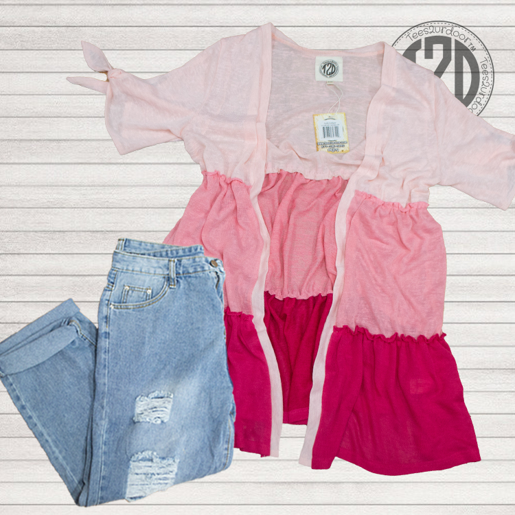 Lucile Cardigan pink ombre