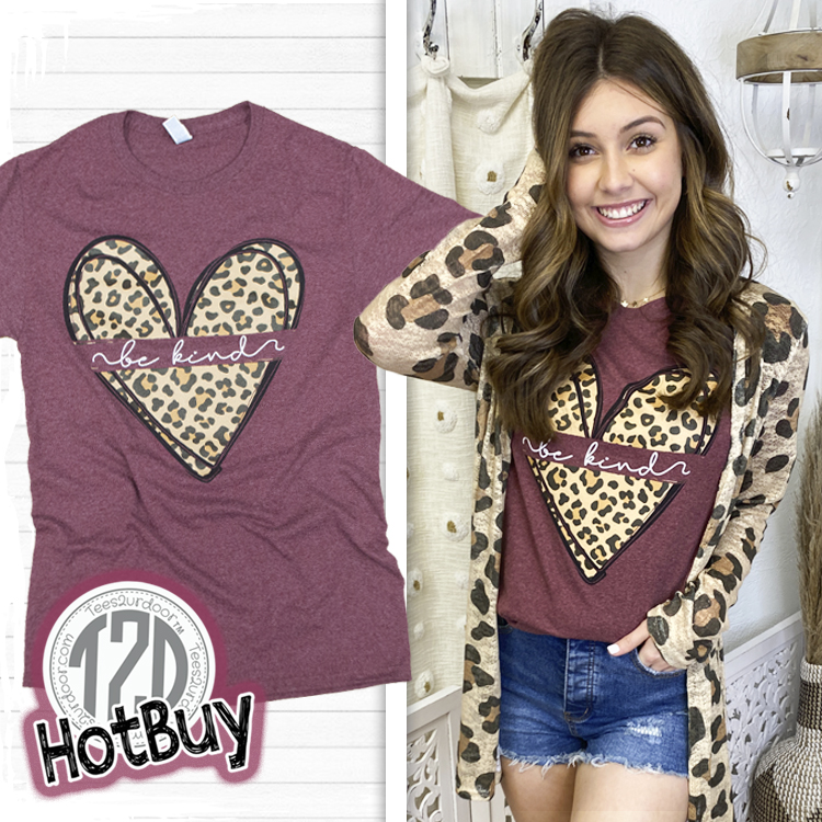 Be Kind Leopard Heart T-Shirt product image